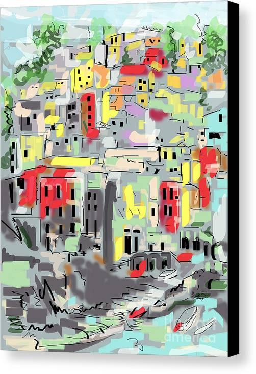 Riomaggiore Canvas Print featuring the digital art Riomaggiore Italy Moucasso Painting by Ginette Callaway