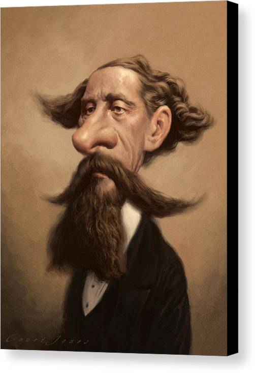 Charles Dickens Canvas Print featuring the painting Charles Dickens by Court Jones