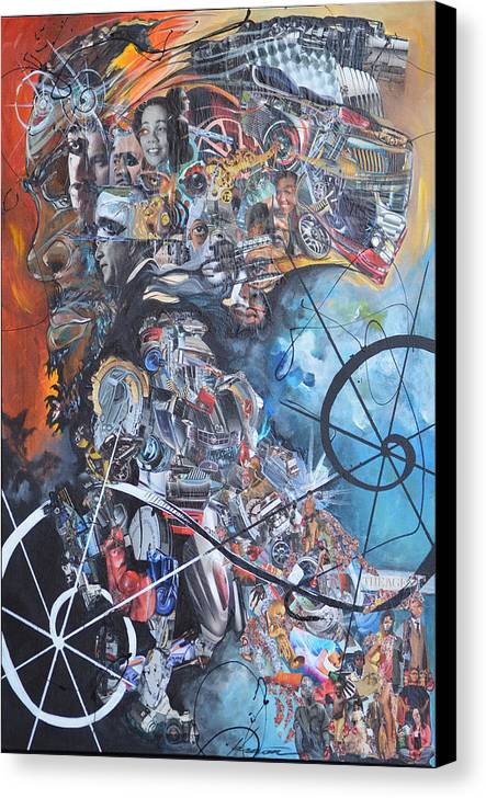 Social Canvas Print featuring the painting The Agent by Hasaan Kirkland