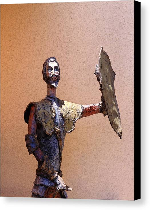 Man Of La Mancha Canvas Print featuring the sculpture Man Of La Mancha by Viktor Savchenko