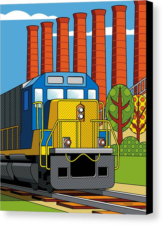 Pittsburgh Canvas Print featuring the digital art Homestead Stacks by Ron Magnes