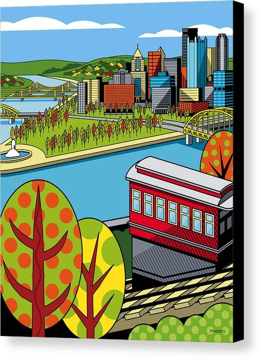 Pittsburgh Canvas Print featuring the digital art Fall From Above II by Ron Magnes