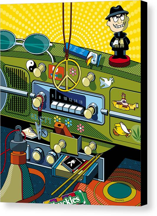 Sixties Canvas Print featuring the digital art Road Trip '69 by Ron Magnes