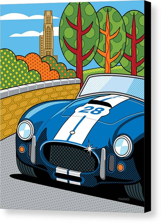 Graphic Canvas Print featuring the digital art Pittsburgh Vintage Grand Prix by Ron Magnes