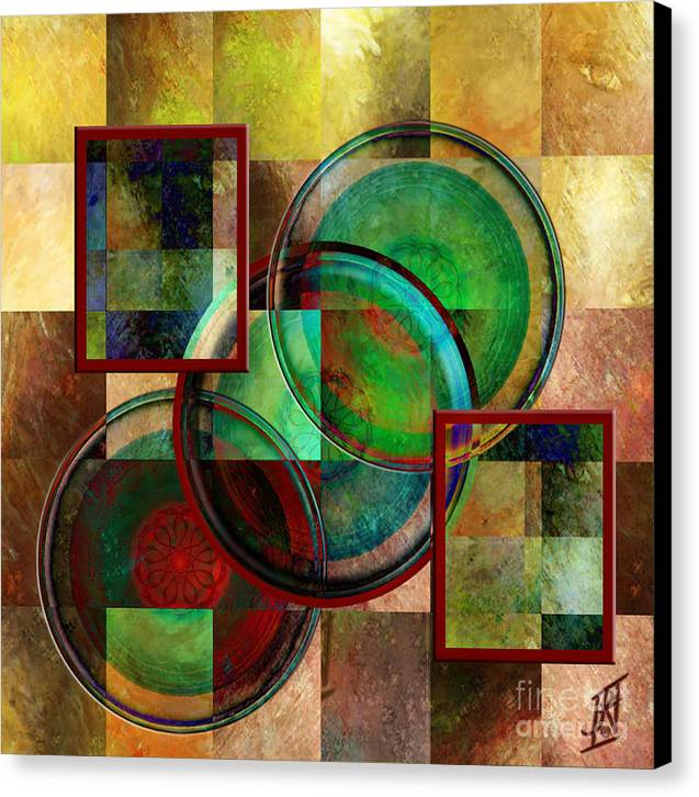 Circles And Squares Triptych Centre Canvas Print by Rosy Hall