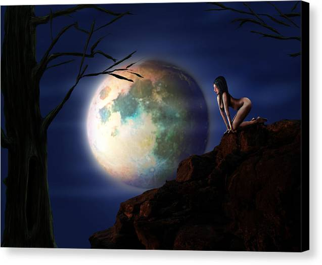 Full Moon Canvas Print by Virginia Palomeque