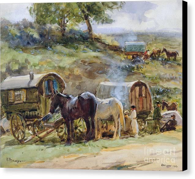 Gypsy Encampment Canvas Print by John Atkinson