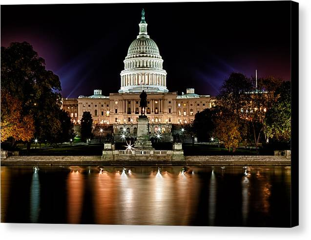 Us Capitol Building And Reflecting Pool At Fall Night 3 Canvas Print by Val Black Russian Tourchin