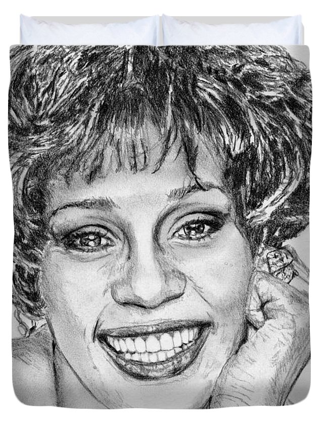 Mccombie Duvet Cover featuring the drawing Whitney Houston In 1992 by J McCombie