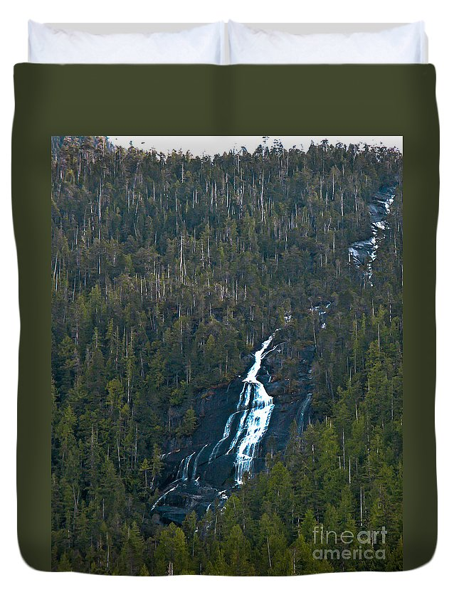 Waterfall Duvet Cover featuring the photograph Scenic Waterfall by Robert Bales
