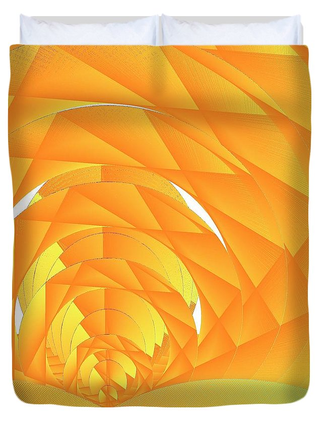 Cyber Sun Duvet Cover featuring the digital art As The Cyber Sun Shrinks And Sets by Michael Skinner