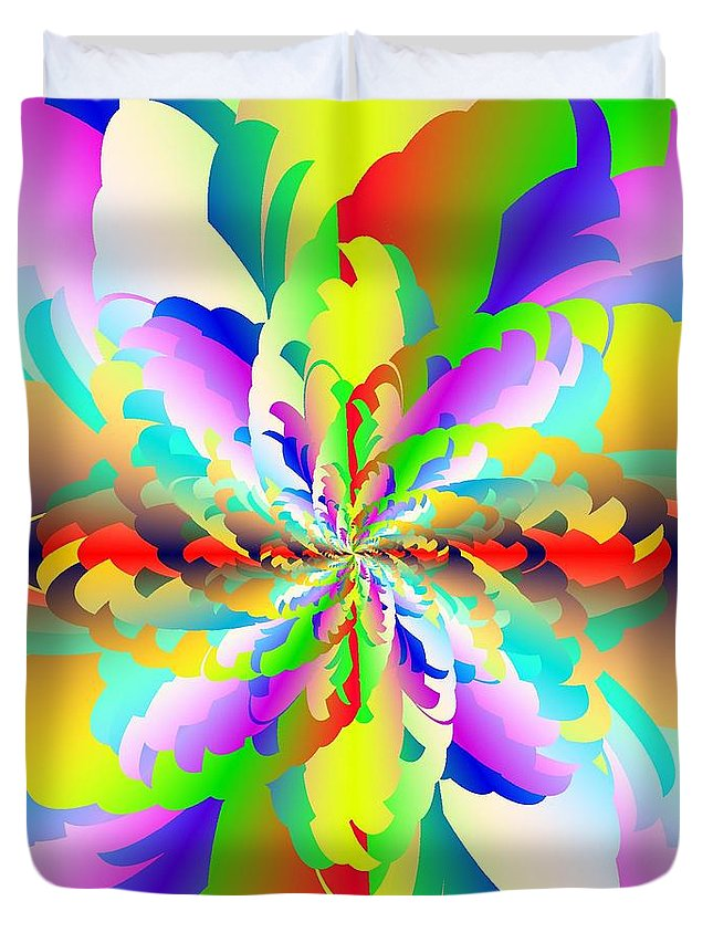 Flamboyant Fractal Fire Flower Duvet Cover featuring the digital art Flamboyant Fractal Fire Flower by Michael Skinner