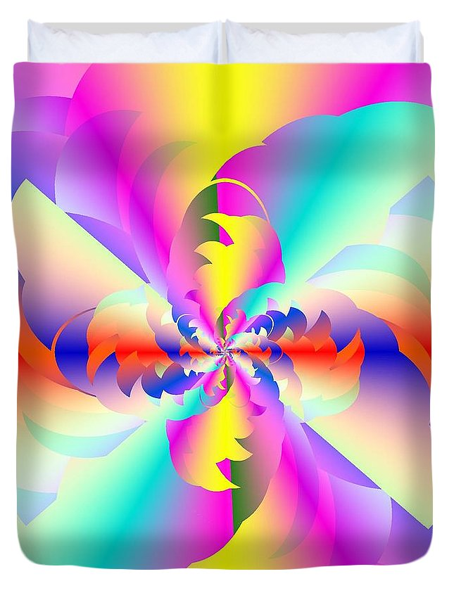Fractured Fractal Rainbow Duvet Cover featuring the digital art Fractal Rainbow by Michael Skinner