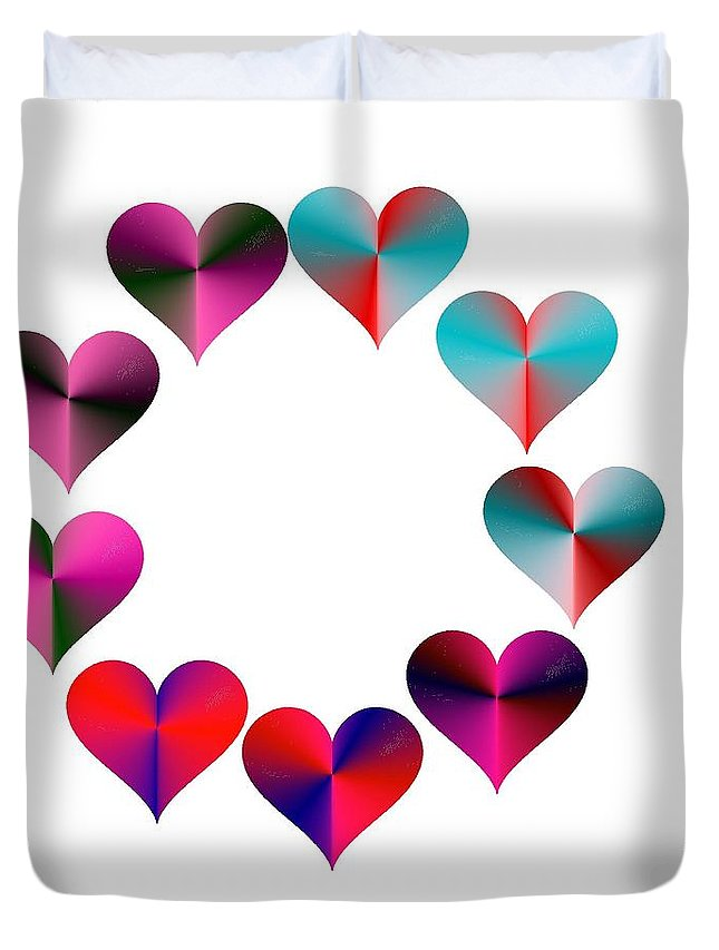 I Heart Rainbows Duvet Cover featuring the digital art I Heart Rainbows by Michael Skinner