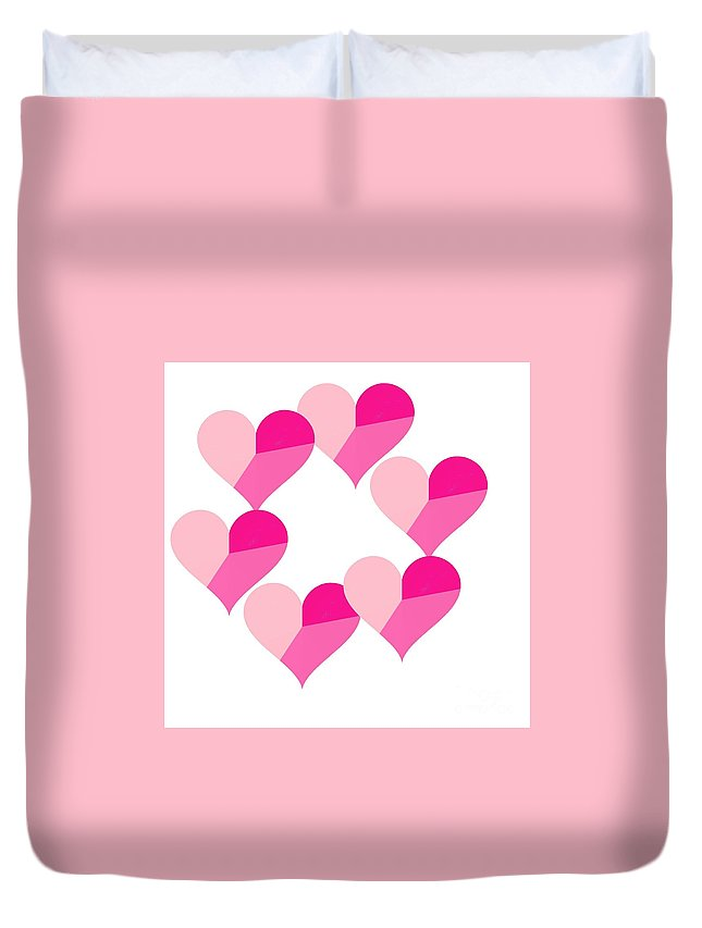 Pink Candy Hearts Duvet Cover featuring the digital art Pink Candy Hearts by Michael Skinner