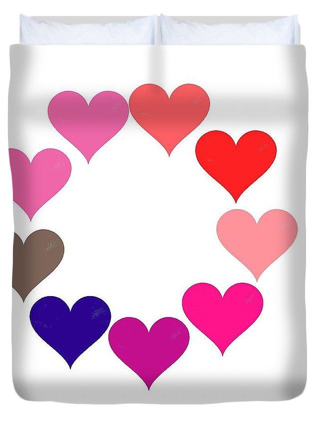 Rainbow Heart Ring Duvet Cover featuring the digital art Rainbow Heart Ring by Michael Skinner