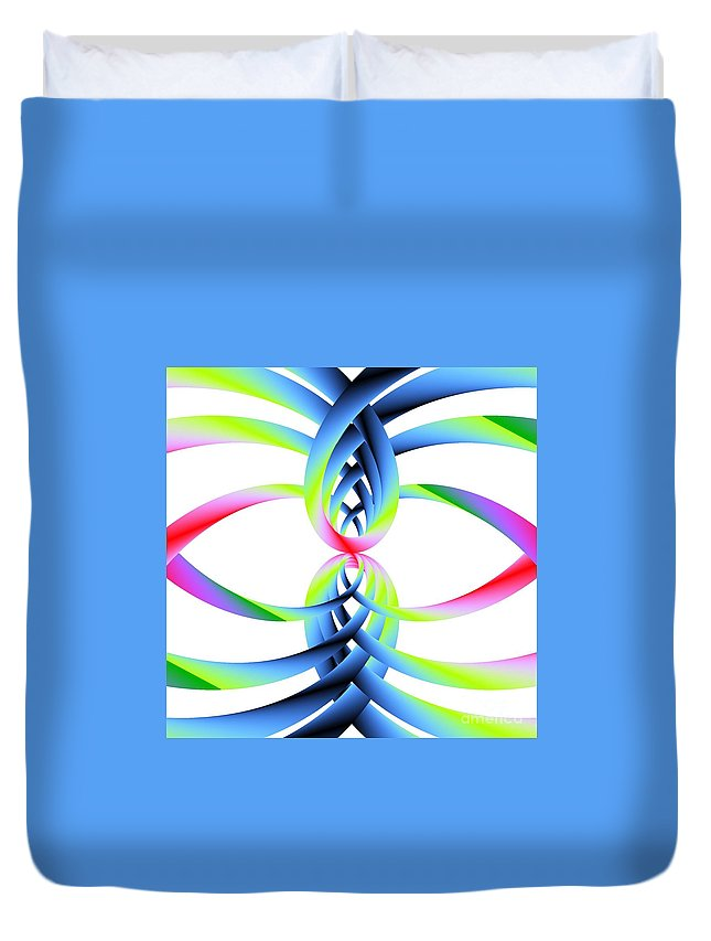 Rainbow Loops Duvet Cover featuring the digital art Rainbow Loops by Michael Skinner