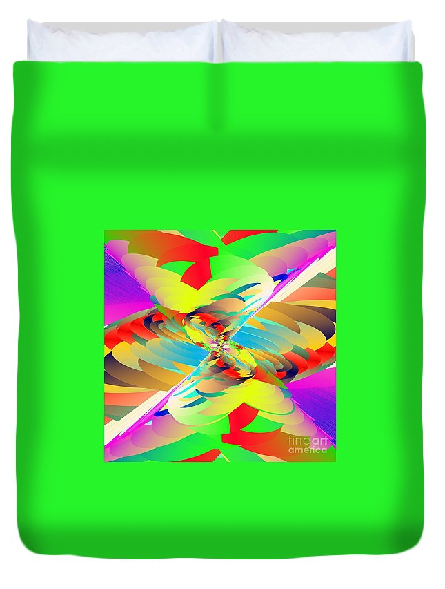 Polychromatic Maelstrom Duvet Cover featuring the digital art Rainbow Tornado by Michael Skinner