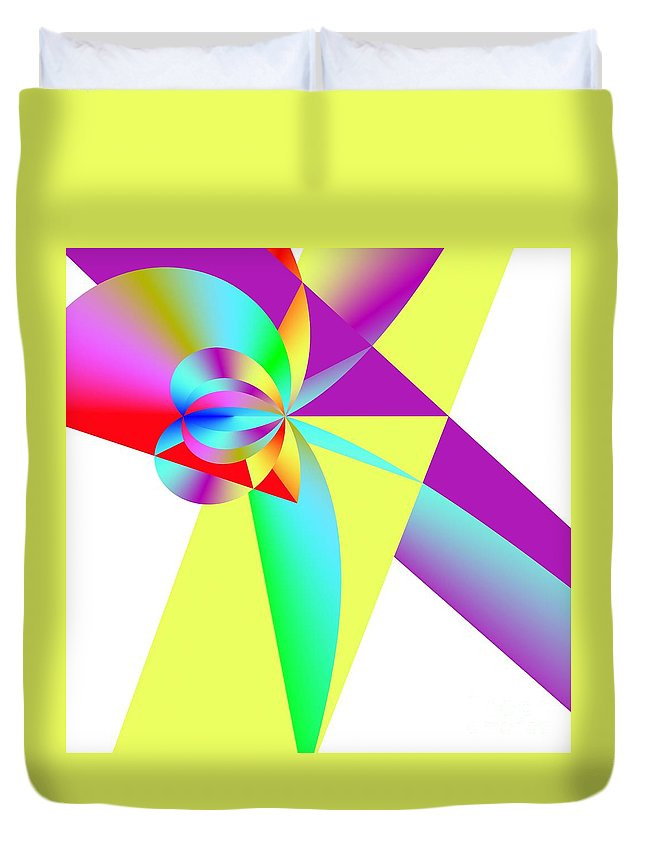 Rainbow Wedding Gift Duvet Cover featuring the digital art Rainbow Wedding Gift by Michael Skinner