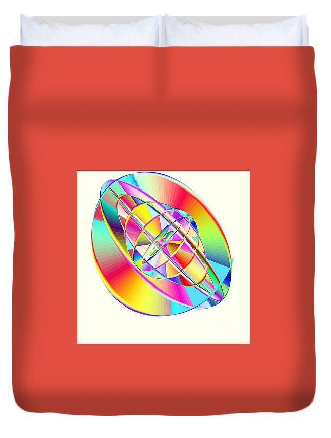 Steampunk Gyroscopic Rainbow Duvet Cover featuring the digital art Steampunk Gyroscopic Rainbow by Michael Skinner