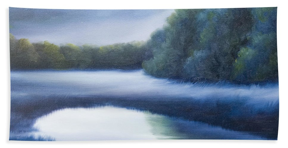 Nature; Lake; Sunset; Sunrise; Serene; Forest; Trees; Water; Ripples; Clearing; Lagoon; James Christopher Hill; Jameshillgallery.com; Foliage; Sky; Realism; Oils; Green; Tree; Blue; Pink; Pond; Lake Hand Towel featuring the painting A Day In The Life 4 by James Christopher Hill