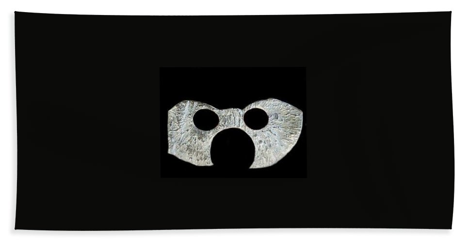 A Wearable Mardi Gras Carnival Or Costume Mask With A Leather Covered Holding Stick Hand Towel featuring the sculpture Carnival Series by Robert aka Bobby Ray Howle