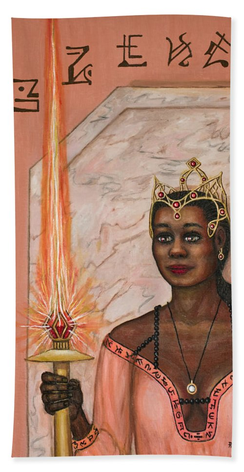Fantasy Hand Towel featuring the painting Queens New Toy by Roz Eve