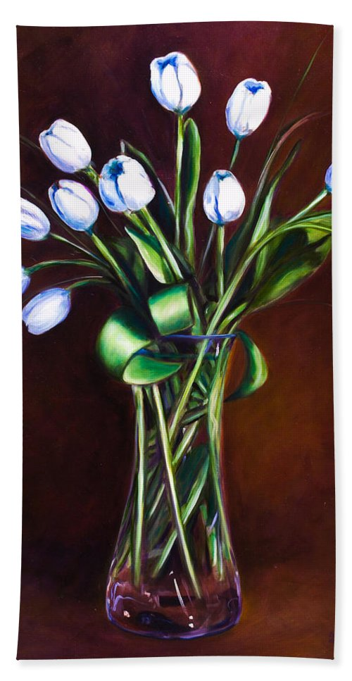 Shannon Grissom Hand Towel featuring the painting Simply Tulips by Shannon Grissom