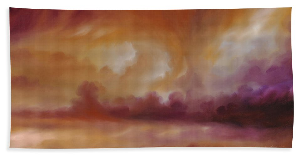 Tempest Hand Towel featuring the painting Storm Clouds 2 by James Christopher Hill