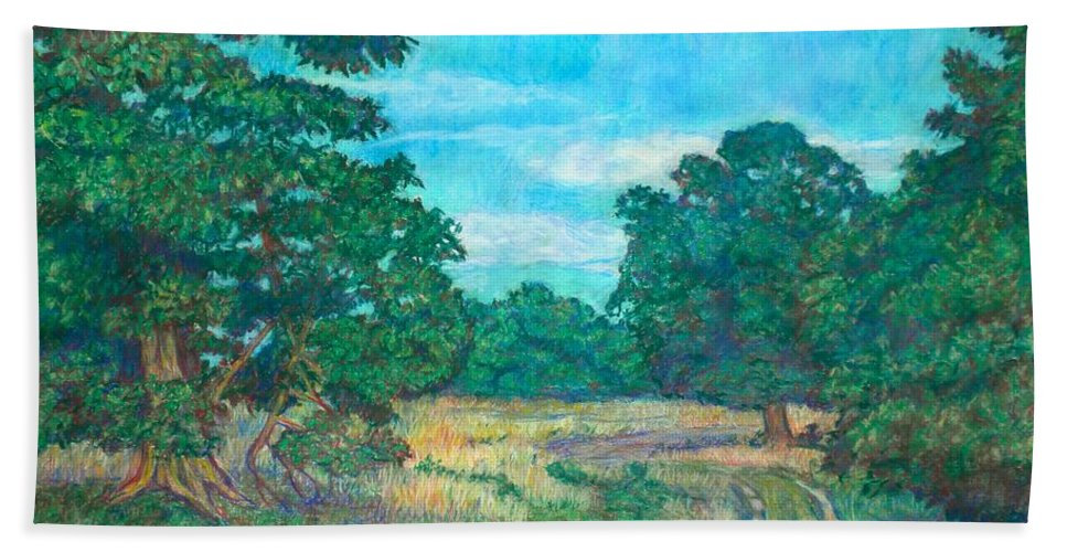 Landscape Beach Towel featuring the painting Dirt Road Near Rock Castle Gorge by Kendall Kessler