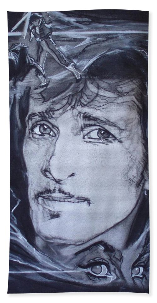 Charcoal;mink Deville;new York City;gina Lollabrigida Eyes ;cat Eyes;bullfight;toreador;swords;death;smoke;blues Beach Towel featuring the drawing Mink Deville - Coup De Grace by Sean Connolly