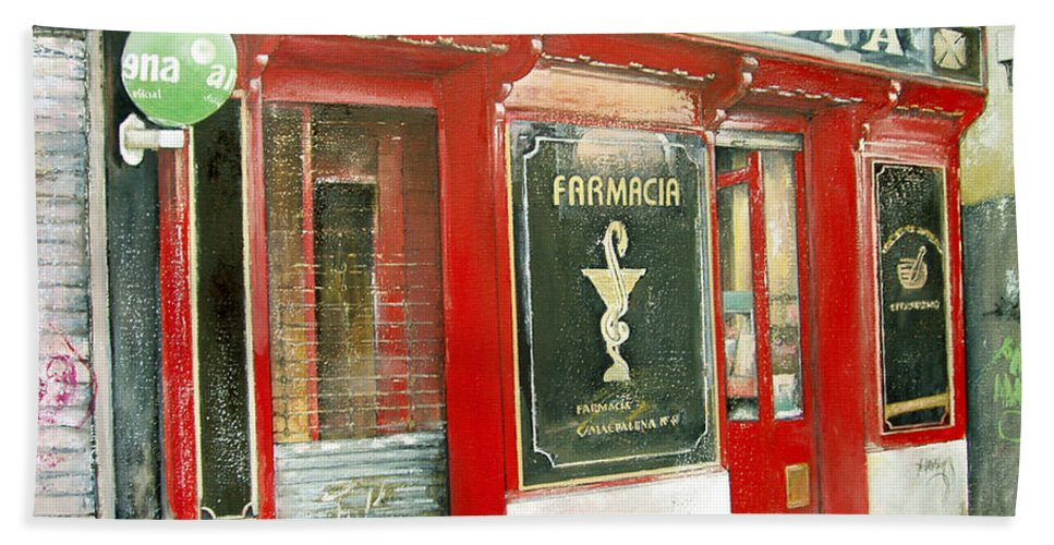 Farmacia Beach Sheet featuring the painting Old Pharmacy by Tomas Castano