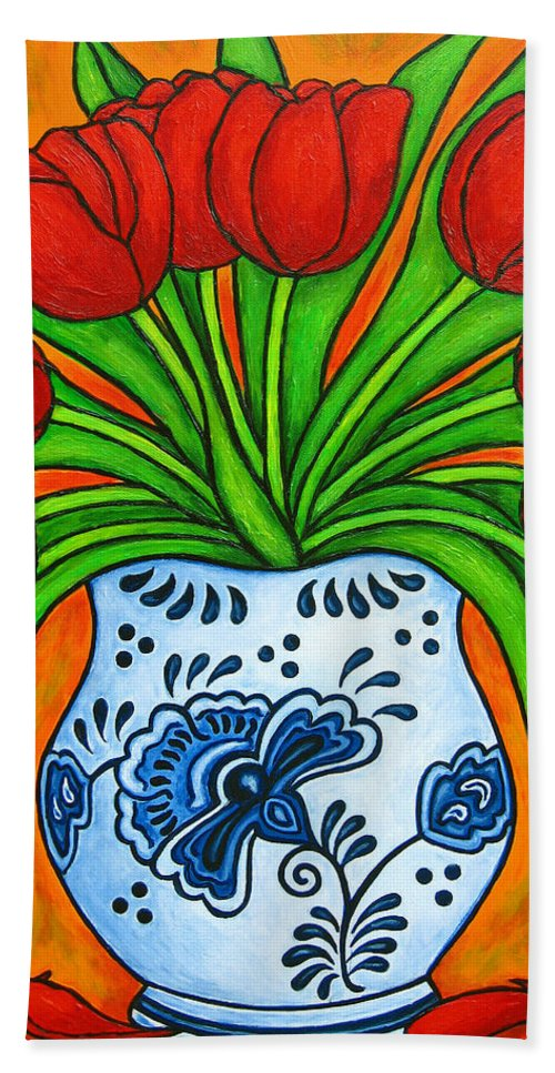 White Beach Towel featuring the painting Dutch Delight by Lisa Lorenz