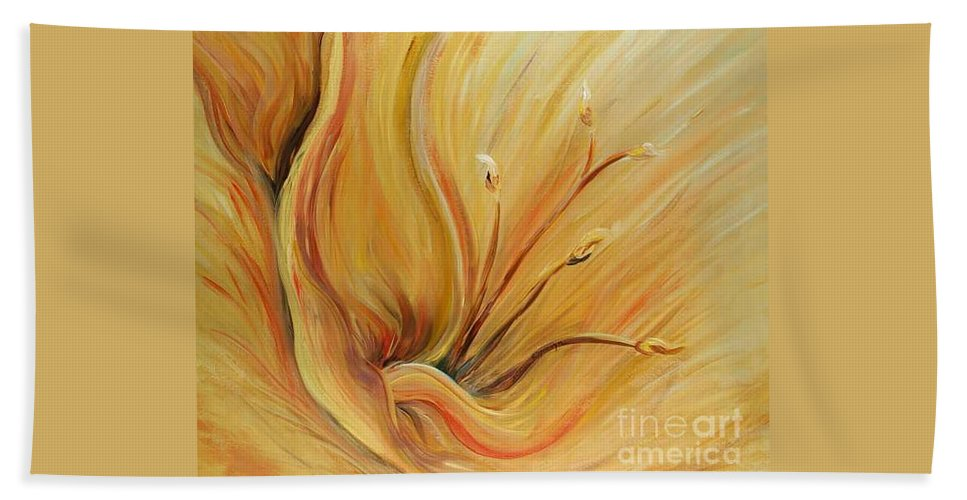 Gold Beach Towel featuring the painting Golden Glow by Nadine Rippelmeyer