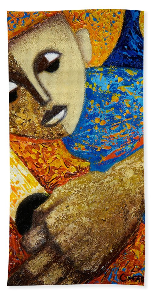 Color Beach Towel featuring the painting Jibaro Y Sol by Oscar Ortiz