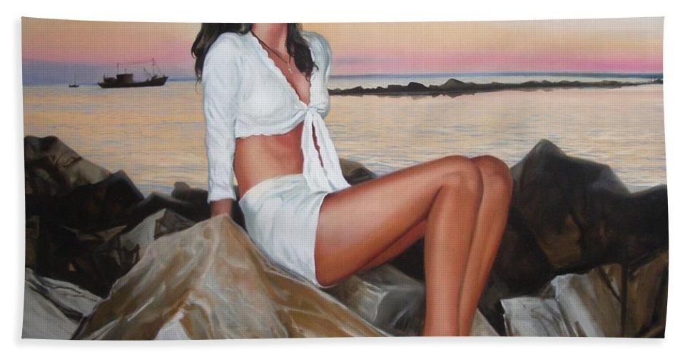 Art Beach Towel featuring the painting Portrait by Sergey Ignatenko