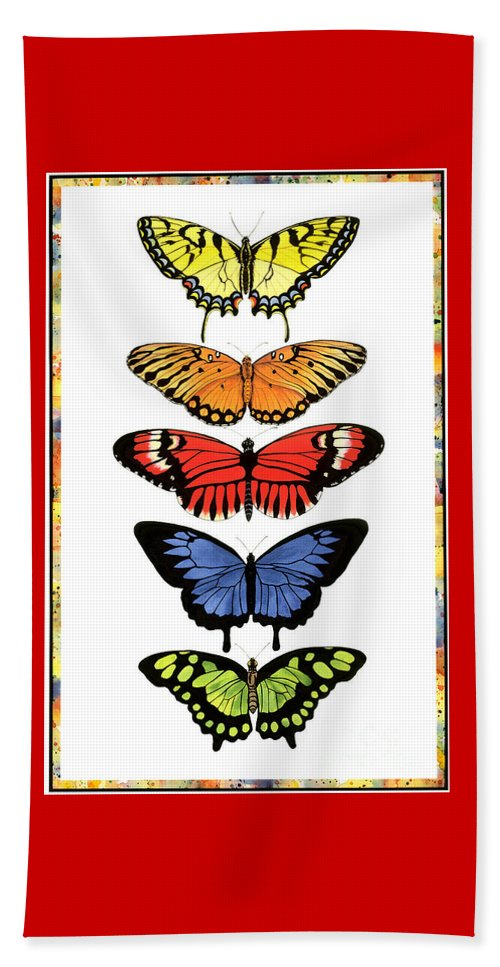 Butterflies Beach Sheet featuring the painting Rainbow Butterflies by Lucy Arnold