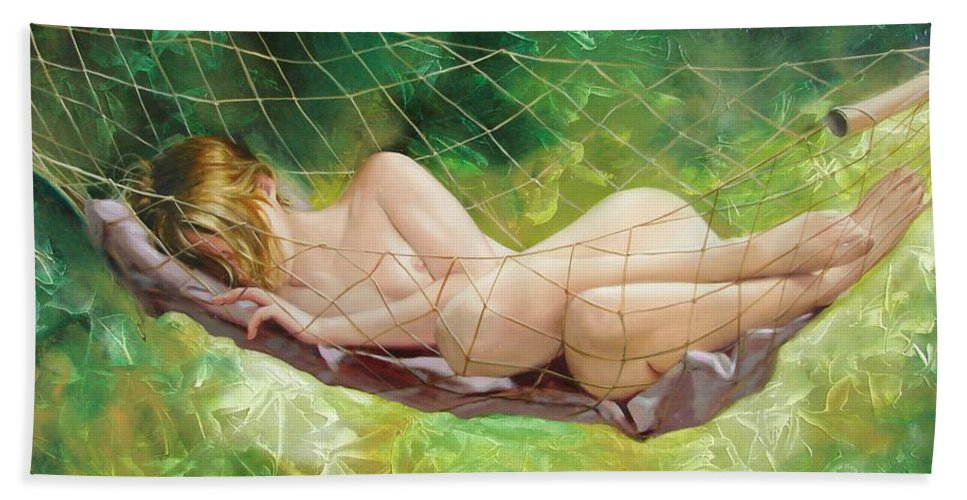 Oil Beach Towel featuring the painting The Dream In Summer Garden by Sergey Ignatenko