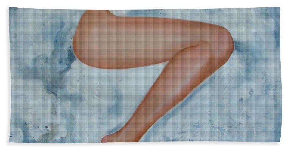Art Beach Towel featuring the painting The Milk Bath by Sergey Ignatenko