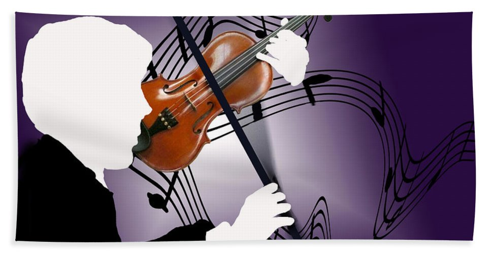 Violin Beach Towel featuring the sculpture The Soloist by Steve Karol