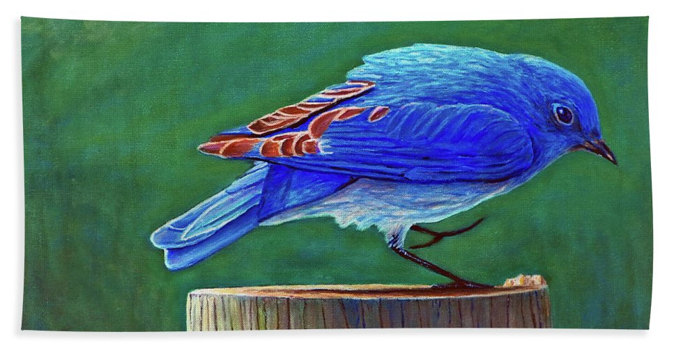 Bluebird Beach Towel featuring the painting Two Step by Brian Commerford