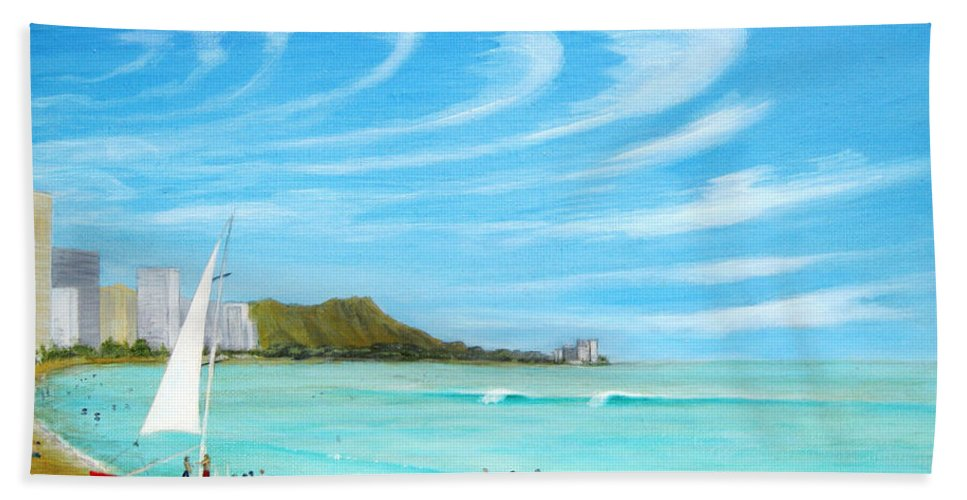 Waikiki Beach Towel featuring the painting Waikiki by Jerome Stumphauzer