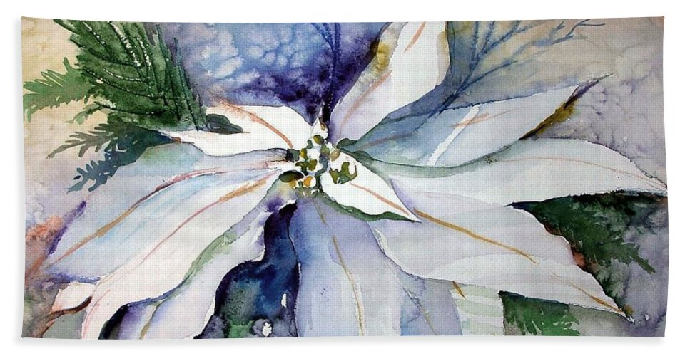 Floral Beach Towel featuring the painting White Poinsettia by Mindy Newman