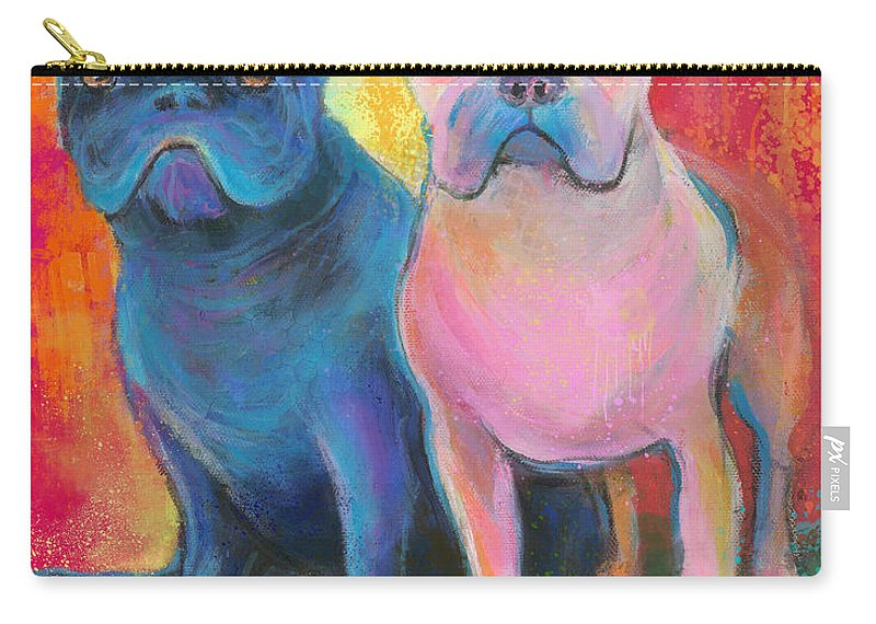 French Bulldog Carry-all Pouch featuring the painting French Bulldog Dogs White And Black Painting by Svetlana Novikova