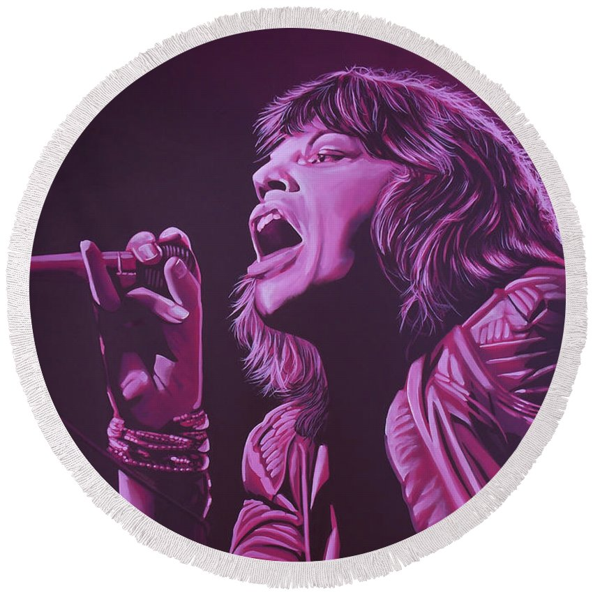Paul Meijering Round Beach Towel featuring the painting Mick Jagger by Paul Meijering