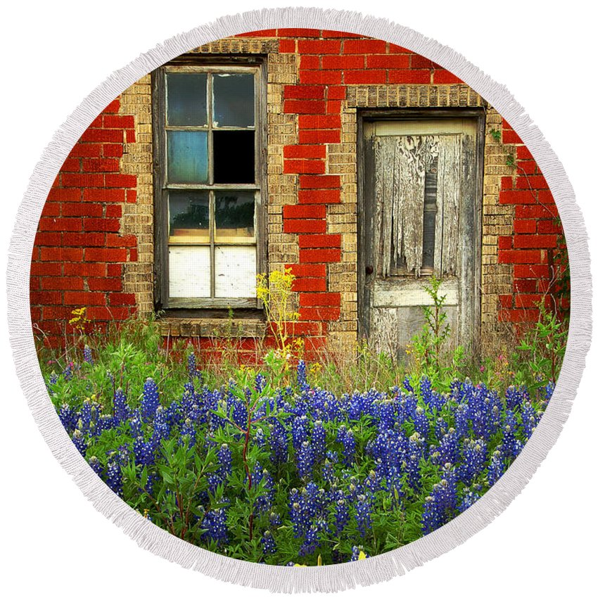 Door Round Beach Towel featuring the photograph Beauty And The Door - Texas Bluebonnets Wildflowers Landscape Door Flowers by Jon Holiday