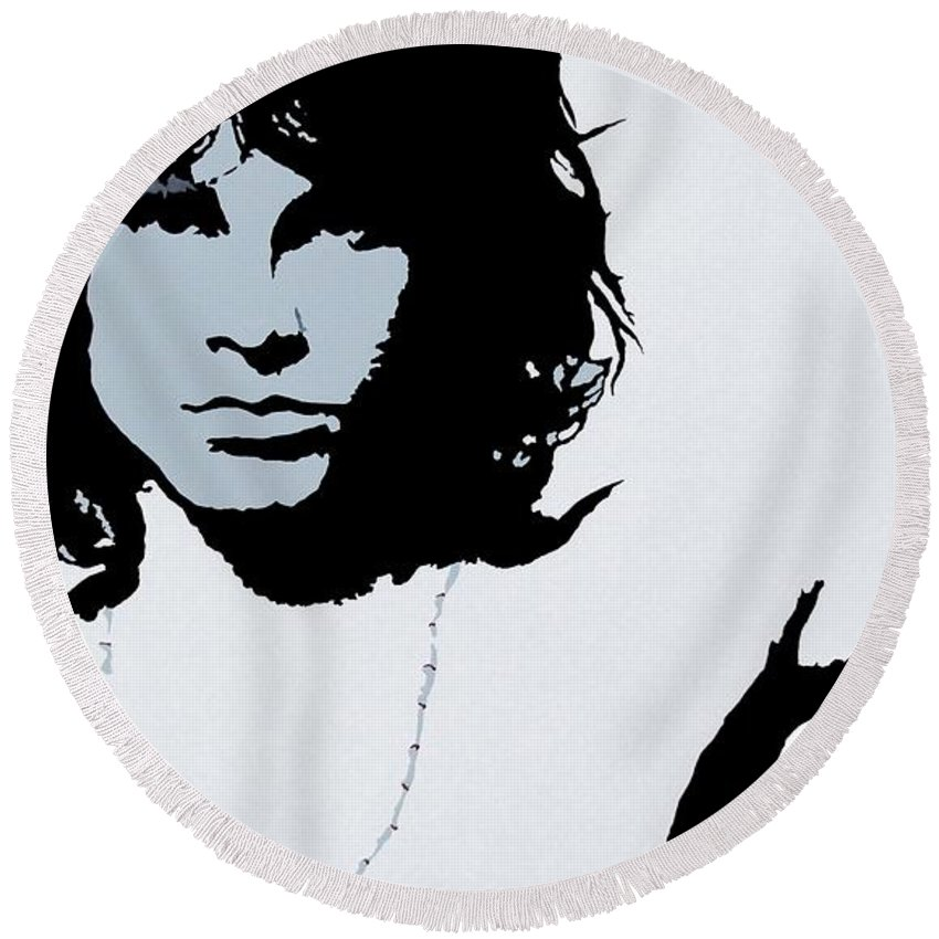 The Doors Round Beach Towel featuring the painting Jim Morrison by Bryan Dubreuiel