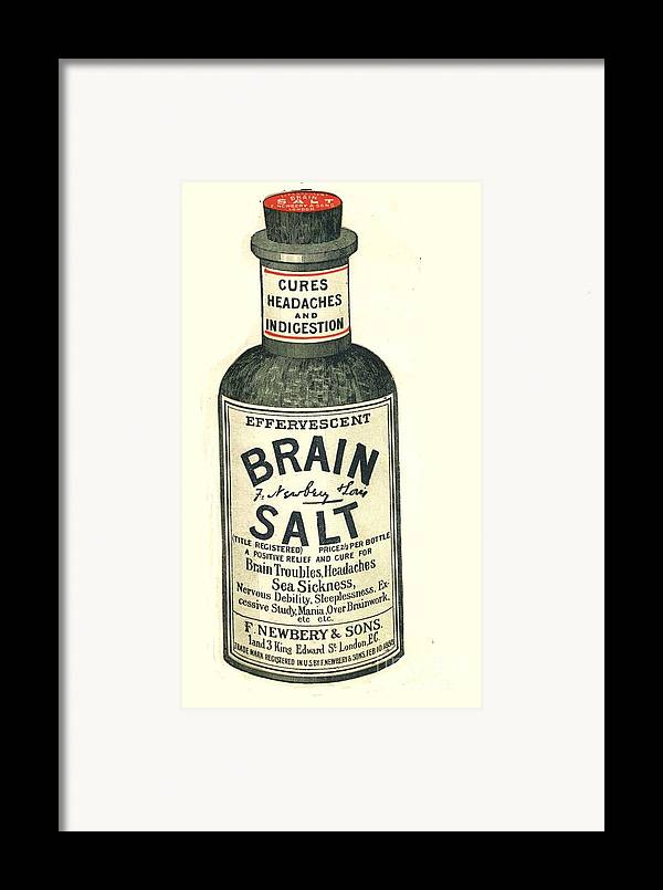 1890�s Framed Print featuring the drawing 1890s Uk Brain Salt Headaches Humour by The Advertising Archives
