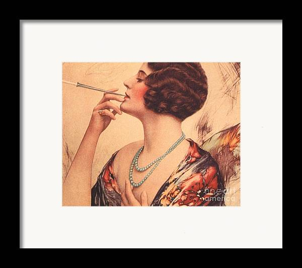 1920�s Framed Print featuring the drawing 1920s Usa Women Cigarettes Holders by The Advertising Archives