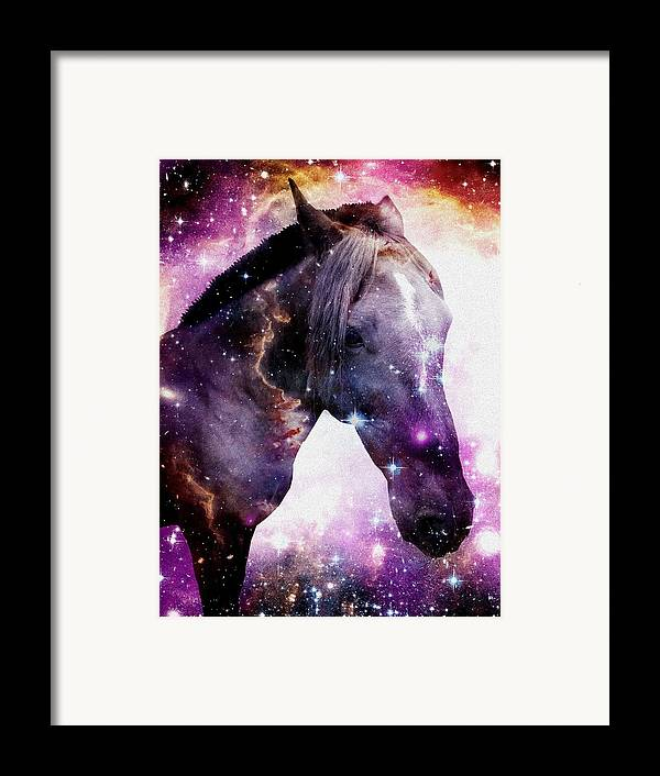 Stallion Framed Print featuring the digital art Horse In The Small Magellanic Cloud by Anastasiya Malakhova